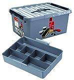 Sunware Q-Line Schuhcreme-Box mit Einsatz, Metallic-Schwarz, 15 Liter